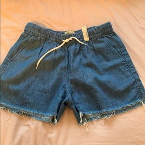 NWT Madewell Drawstring Shorts Blue Denim SZ XS